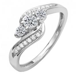 0.50 Carat (ctw) 14k White Gold Round Diamond Ladies Swirl Engagement 3 Stone Bridal Ring 1/2 CT