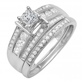 0.75 Carat (ctw) 10k White Gold Princess & Round Diamond Ladies Bridal Ring Set Matching Band 3/4 CT