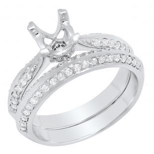 0.50 Carat (ctw) 14k White Gold Round Diamond Ladies Semi Mount Bridal Engagement Ring Set (No Center Stone)