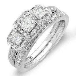 1.00 Carat (ctw) 14k White Gold Round & Princess Cut 3 Stone Diamond Ladies Engagement Ring Matching Band Set