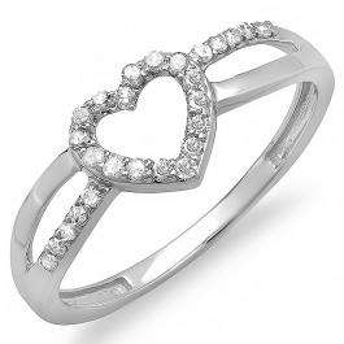 0.20 Carat (ctw) 10k White Gold Round Diamond Ladies Bridal Promise Heart Split Shank Engagement Ring 1/5 CT