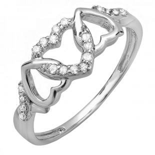 0.15 Carat (ctw) 10k White Gold Round White Diamond Ladies Promise Heart Love Split Shank Engagement Ring
