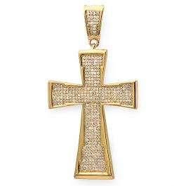 1.00 Carat (ctw) Sterling Silver Micro Pave Diamond Mens Hip Hop Religious Cross Pendant in Yellow Plated 1 CT