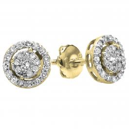 0.40 Carat (ctw) 18K Yellow Gold Round Cut Diamond Round Shape Cluster Earrings Look of 1 CT each