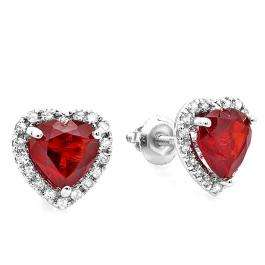 1.80 Carat (ctw) 10K White Gold Deep Red Color Heart Shape Garnet & Round Cut Diamond Halo Stud Earrings