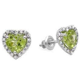 1.65 Carat (ctw) 10k White Gold Heart Cut Green Peridot & Round Diamond Ladies Halo Stud Earrings