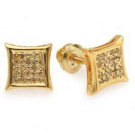0.10 Carat (ctw) 18K Yellow Gold Plated Sterling Silver Yellow Round Diamond Micro Pave Setting Kite Shape Stud Earrings