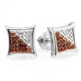 0.10 Carat (ctw) Sterling Silver Red & White Round Diamond Micro Pave Setting Kite Shape Stud Earrings