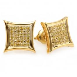 0.15 Carat (ctw) 18K Yellow Gold Plated Sterling Silver Yellow Round Diamond Micro Pave Setting Kite Shape Stud Earrings