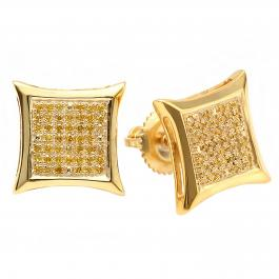 0.40 Carat (ctw) 14K Yellow Gold Yellow Round Diamond Micro Pave Setting Kite Shape Stud Earrings