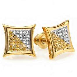 0.15 Carat (ctw) 18K Yellow Gold Plated Sterling Silver White & Yellow Round Diamond Micro Pave Setting Kite Shape Stud Earrings