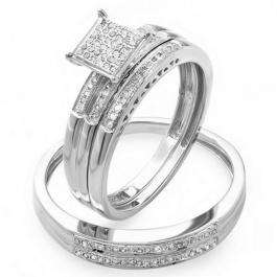 0.20 Carat (ctw) Sterling Silver Round White Diamond Men & Women's Micro Pave Engagement Ring Trio Bridal Set 1/5 CT
