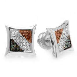 0.25 Carat (ctw) 10K White Gold Blue White & Red Round Diamond Micro Pave Setting Kite Shape Stud Earrings 1/4 CT