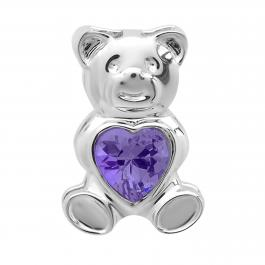 Sterling Silver Ladies Teddy Bear With Violet CZ Cubic Zirconia Pendant