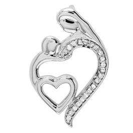 0.15 Carat (ctw) Sterling Silver Round Diamond Mothers Day Special Mom Child Ladies Pendant