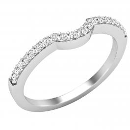 0.15 Carat (ctw) Round Diamond Ladies Contour Guard Stackable Wedding Band, 925 Sterling Silver