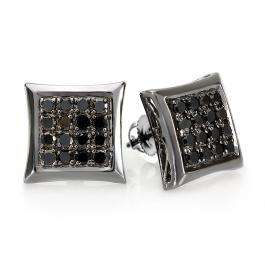 0.75 Carat (ctw) 14K White Gold Black Rhodium Plated Round Diamond Micro Pave Kite Shape Hip Hop Iced Stud Earrings 3/4 CT