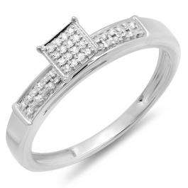 0.10 Carat (ctw) Sterling Silver Round Diamond Ladies Square Frame Micro Pave Promise Ring
