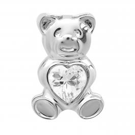 Sterling Silver Ladies Teddy Bear With White CZ Cubic Zirconia Pendant