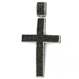 1.20 Carat (ctw) Sterling Silver Round Black Diamond Micro Pave Men's Hip Hop Religious Cross Pendant 1 1/4 CT