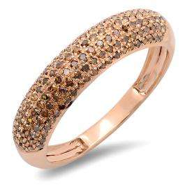 0.50 Carat (ctw) 14k Rose Gold Round Red Diamond Ladies Anniversary Wedding Band 1/2 CT