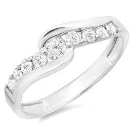 0.50 Carat (ctw) 14k White Gold Round Diamond Ladies Bridal Engagement Ring 1/2 CT