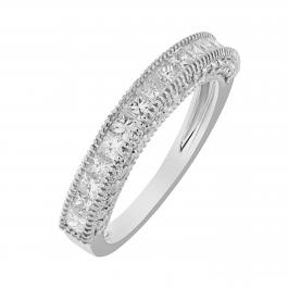 1.40 Carat (ctw) 14k White Gold Princess & Round Diamond Ladies Anniversary Wedding Matching Band Stackable Ring