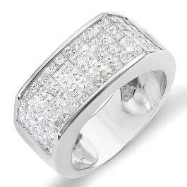 2.00 Carat (ctw) 14k White Gold Princess Invisible Set Diamond Men's Wedding Band Ring 2 CT