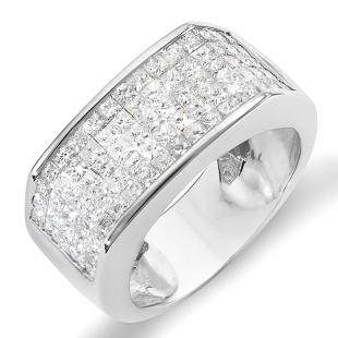 2.00 Carat (ctw) 14k White Gold Princess Invisible Set Diamond Men's Wedding Band Ring 2 CT