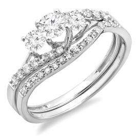 0.75 Carat (ctw) 14K White Gold Round Diamond Ladies 3 Stone Bridal Engagement Ring Matching Band Set 3/4 CT
