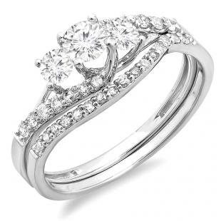 0.75 Carat (ctw) 14K White Gold Round Diamond Ladies 3 Stone Bridal Engagement Ring Matching Band Set 3/4 CT