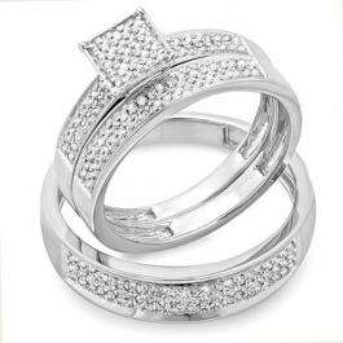 0.55 Carat (ctw) Sterling Silver Round White Diamond Men's & Women's Micro Pave Engagement Ring Trio Bridal Set
