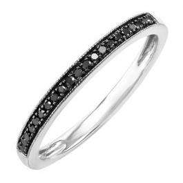 0.10 Carat (ctw) Sterling Silver Round Black Real Diamond Wedding Anniversary Stackable Band Ring