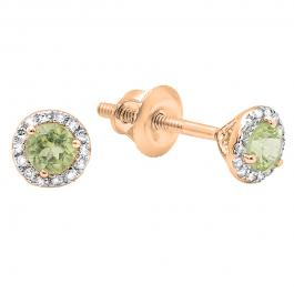 0.35 Carat (ctw) 10k Rose Gold Round Green Peridot & White Diamond Ladies Halo Stud Earrings 1/3 CT