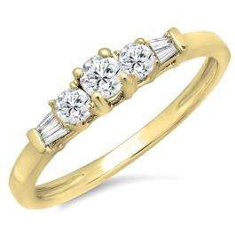 0.45 Carat (ctw) 10K Yellow Gold Round & Baguette Cut Diamond Ladies 3 Stone Engagement Bridal Ring