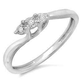 0.05 Carat (ctw) Sterling Silver Round Diamond Ladies 3 Stone Bridal Engagement Swirl Promise Ring 1/20 CT