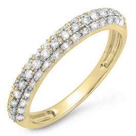 0.45 Carat (ctw) 18k Yellow Gold Round White Diamond Ladies Anniversary Wedding Band Stackable Ring 1/2 CT