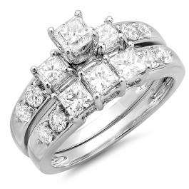 2.00 Carat (ctw) 14K White Gold Princess & Round Diamond 3 Stone Ladies Engagement Bridal Ring Set Matching Band 2 CT
