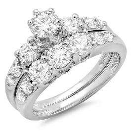 1.80 Carat (ctw) 14k White Gold Round Diamond Ladies 3 Stone Bridal Engagement Ring Matching Band Set