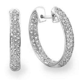 2.00 Carat (ctw) 14k White Gold Round Diamond Ladies Pave Hoop Earrings 2 CT