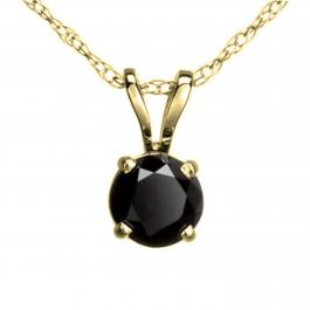 0.75 Carat (ctw) Round Black Diamond Ladies Solitaire Pendant 3/4 CT, 14K Yellow Gold With Gold Chain