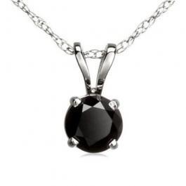 1.15 Carat (ctw) 14k White Gold Round Black Diamond Ladies Solitaire Pendant