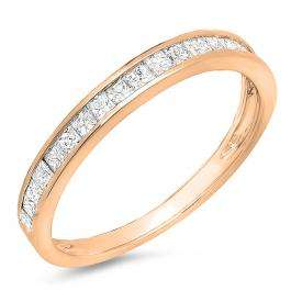 0.55 Carat (ctw) 10K Rose Gold Princess Diamond Ladies Wedding Matching Band Stackable Ring 1/2 CT