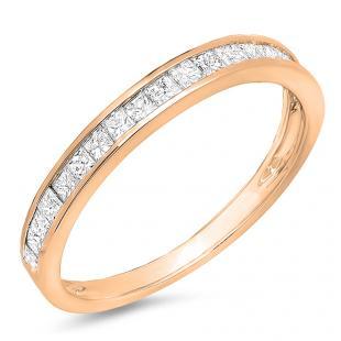 0.55 Carat (ctw) 18K Rose Gold Princess Diamond Ladies Wedding Matching Band Stackable Ring 1/2 CT