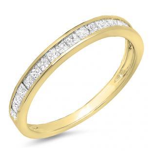 0.55 Carat (ctw) 18K Yellow Gold Princess Diamond Ladies Wedding Matching Band Stackable Ring 1/2 CT