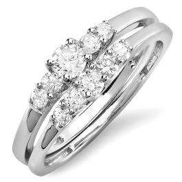 0.52 Carat (ctw) 14K White Gold Round White Diamond Ladies Engagement Bridal Ring Set 1/2 CT