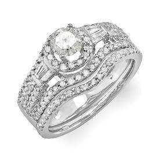 1.00 Carat (ctw) 14k White Gold Round & Baguette Diamond Ladies Halo Style Bridal Engagement Ring Matching Band Set 1 CT