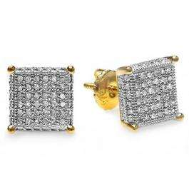 0.55 Carat (ctw) 18k Yellow Gold Plated Sterling Silver Round Diamond Dice Shape Ice Cube Men's Hip Hop Iced Stud Earrings 1/2 CT