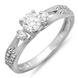 0.65 Carat (ctw) 14k White Gold Round Diamond Ladies Split Shank 3 Stone Bridal Engagement Ring
