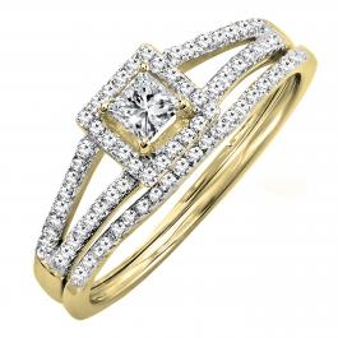 0.45 Carat (ctw) 18K Yellow Gold Princess & Round Diamond Ladies Square Split Shank Halo Bridal Engagement Ring Set 1/2 CT